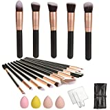 Umo Vizari Makeup Brush Set 16pc - Hand Palette 4 Sponges and Makeup Roll Cruelty-Free Synthetic Fiber Bristles organizer