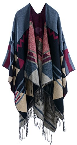 Foucome Bohemian Tassel Cashmere Poncho Capes Women's Winter Warm Ethnic Scarves Shawls Female Longer Scarf Pashmina Orange red from Foucome