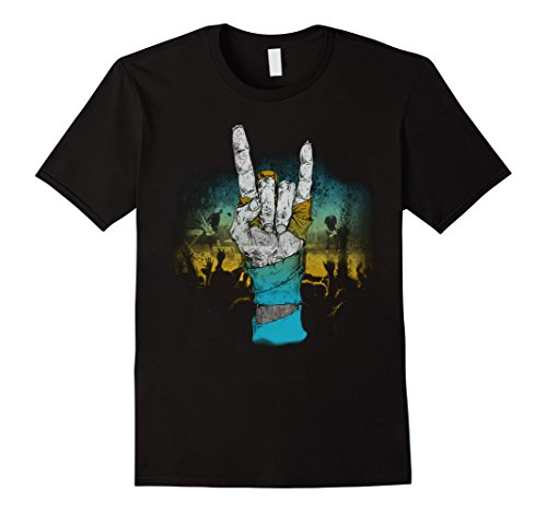 Men's Rock & Roll T Shirts - Rock Hand Sign of the Horns Salute  2XL Black (2)