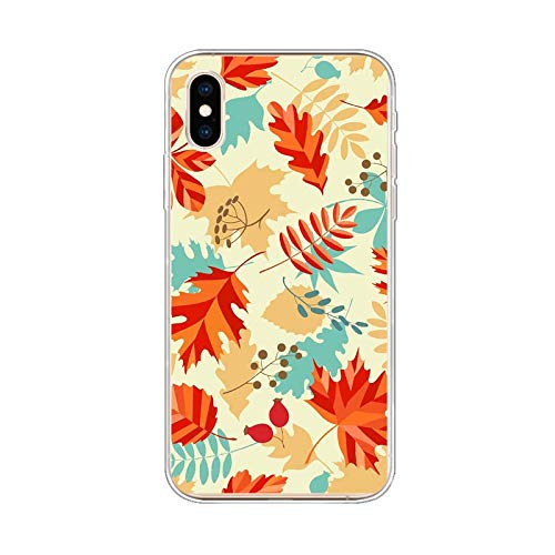 iPhone Xs Max Case,Blingy's New Nice Leaves Floral Style Protective Soft TPU Case Compatible for iPhone Xs Max (Fall Leaves)