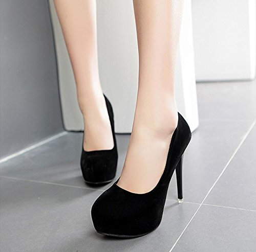 HGTYU Of Black The Fall Shoes High Round The The Heel Professional The With Light Fine Of Black 12Cm High Shoes Satin Ultra With Single Korean Version New Working Head A 0rxXg0Y
