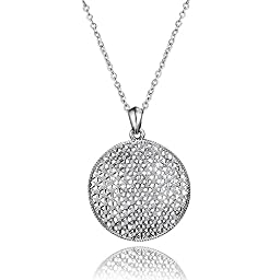 925 Sterling Silver Fishnet Round Pendant Chain Necklace Austrian Crystal For Women Girl 18 Inch
