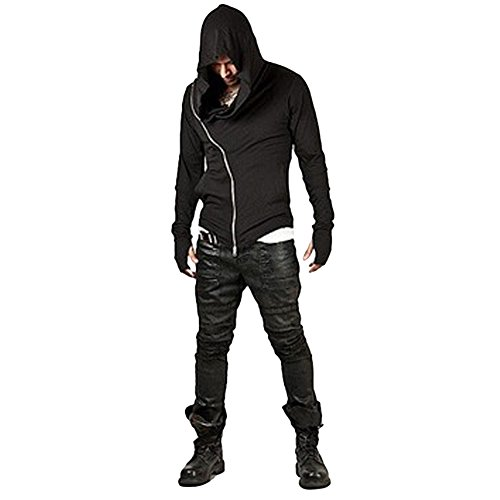 ZUEVI Men's Cool Side Zipper Assassin's Robe Hoodies Cosplay Hooded Sweatshirts(Black-XS)