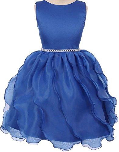Long Charmeuse Bodice Dress (Big Girls' Rhinestone Waist Cascade Pageant Flowers Girls Dresses Royal 10)