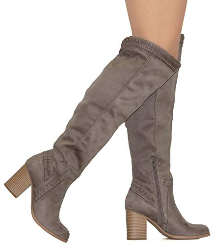 MVE Shoes Over The Knee Chunky Heel Faux Leather Boots, Mention CHA IMSU 10
