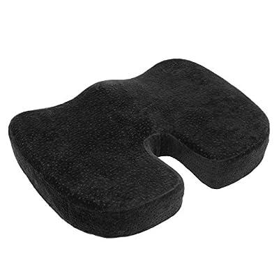 Aurora Health & Beauty Black Memory Foam Coccyx Cushion Orthopedically Designed for Back Tailbone & Sciatica Pain Relief