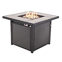 Firepits Grand patio Outdoor Propane Fire Pit Table with Cover/Lid for Patio, 32 inch 40,000 BTU, Textilene/Square firepits