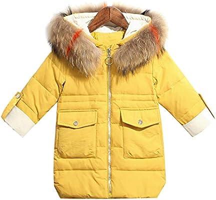LJYH Childrens Winter Hooded Fur Long Down Coat