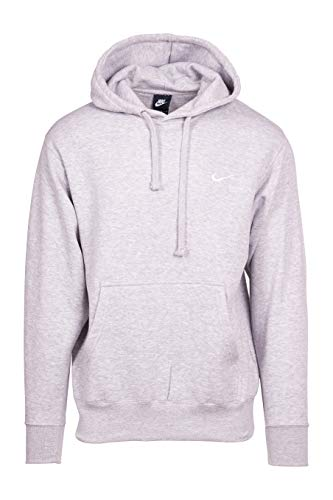 NIKE Men's Classic Club Swoosh Pullover Hoodie-Gray (Small)