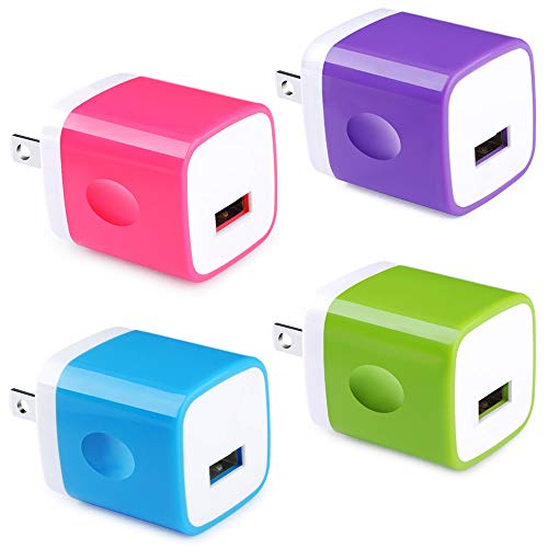 USB Wall Charger, Charging Block [UL Certified] 4-Pack 5V/1A USB Plug Charging Cube Travel Adapter Phone Charging Box Compatible for Phone XS Max XS XR 8 7 6,Samsung Galaxy S10e S10 S9 S8 S7 Note 9 (5 Adapter 4 Iphone)