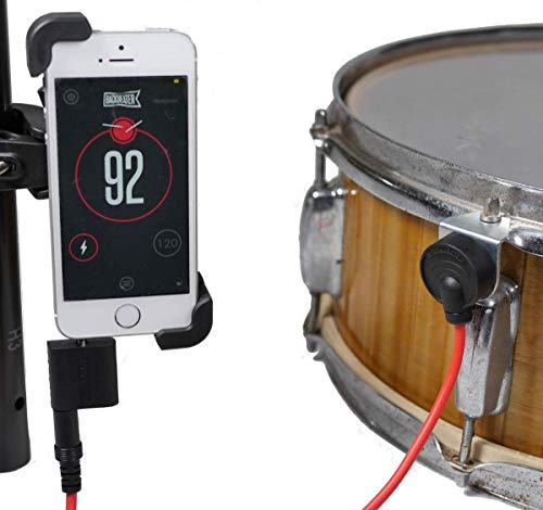 Backbeater Deluxe, Advanced Digital Metronome for Drummers. Smartphone system for perfect drum tempo. Connect sensor to phone, start iOS or Android app, know your tempo. Includes Phone mount