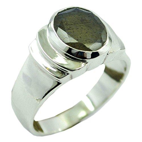 Jewelryonclick Real Labradorite Silver Statement Rings Chakra Healing Gemstone In Size - Marquis Labradorite