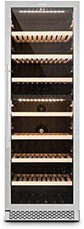Klarstein Gran Reserva - Nevera para vinos, Nevera para bebidas, Refrigerador gastronomía, 2 Zonas, 166 Botellas, 7 Baldas de madera, Control Táctil, Iluminación interior LED, Negro-plateado[Clase de eficiencia energética G]
