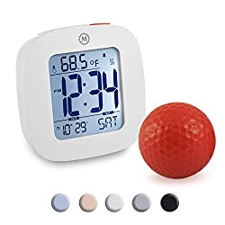 Marathon CL030058WH Small Alarm Clock with Snooze, Light, Calendar, Temperature and Date - White - Batteries Included