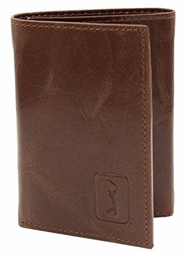PGA Tour Mens Genuine Leather Tri-Fold Wallet (Cognac)