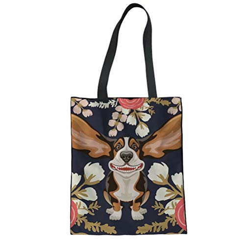 SANNOVO Canvas Shopping Tote Bag Ladies Floral Hound Pattern Shoulder Tote (Bowler Bag Canvas)