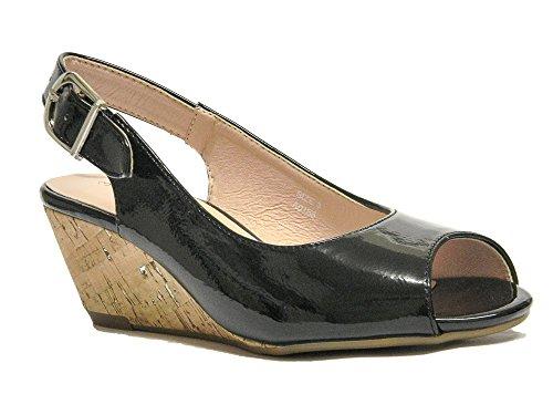 Damen und 8 Wide Schwarz Patent Farben Wedge Sandals UK Nude Schuhe Toe 3 Schwarz Gold Fit Größe Peep Damen RprqR
