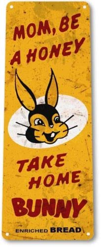 Cottage Bread - TIN Sign Bunny Bread Kitchen Cottage Bakery Rustic Retro Bread Metal