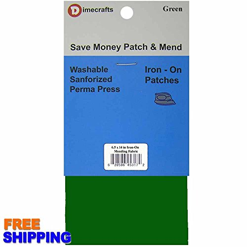 RPDIYME Iron-On 1 Patch Dark Green Mending Fabric 6.5 x 14 Inch, Compare to Bondex