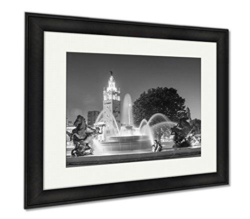 Ashley Framed Prints Kansas City Missouri Fountain At Country Club Plaza, Modern Room Accent Piece, Black/White, 34x40 (frame size), Black Frame, - Country Shops Club Plaza
