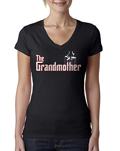 Ladies V-neck 1x1 Rib T-shirts - Retta The Grandmother Ladies V-Neck T-Shirt XX-Large Black