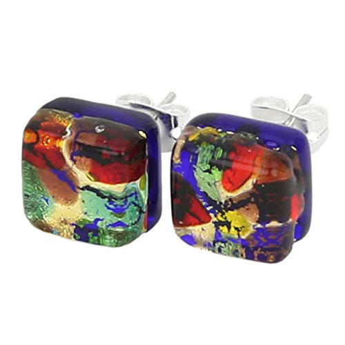 - GlassOfVenice Murano Glass Venetian Reflections Square Stud Earrings - Golden Meadow