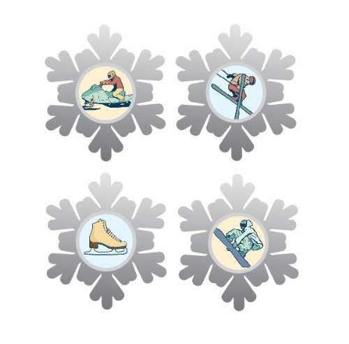 Karen Foster Charms (Karen Foster Design, Thin Metal Scrapbooking Icon Brads, Winter Sports)