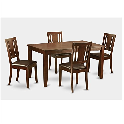 East West Furniture DUDL5-MAH-LC 5-Piece Formal Dining Table Set, Mahogany Finish