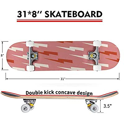 Classic Concave Skateboard Lightnings and Thunder Seamless Pattern Seamless Pattern on The Theme Longboard Maple Deck Extreme Sports and Outdoors Double Kick Trick for Beginners and Professionals : Sports & Outdoors