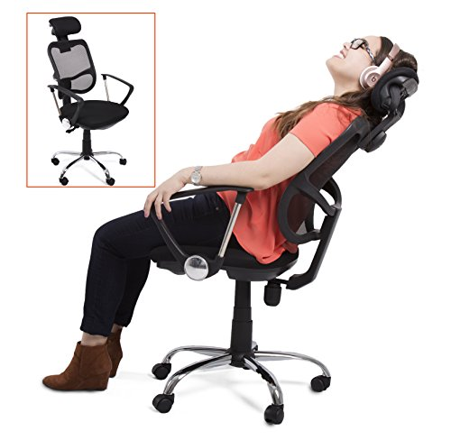 Edge Ergonomic Office Chair – Supports over 300 lbs. – Comfort Mesh Back w/ Lumbar Support – Fully Adjustable Headrest + Armrests & Casters – Perfect office chair or home office chair! (Black)