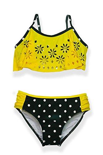 Jump'N Splash Girls Yellow and Black Polka Dot Flounce Bikini Swimsuit w/UV 50+ Protection(12)