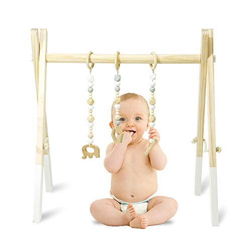 (Homegician Baby Wood Gym, Wood Play Gym with 3 Wooden Baby Teething Toys Foldable Baby Play Gym Frame Activity Gym Hanging Bar Newborn Gift Baby Shower Gift Gym)