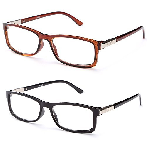Chris Unisex Squared Spring Hinge Fashion Celebrity Clear Lens Glasses 2 Pack Black & Brown