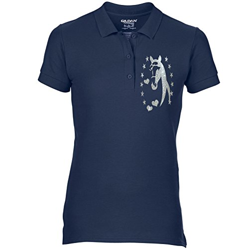 Free P&P Equestrian Equine Horse Riding Ladies Polo Shirt Horse Silhouette Head Stars & Heart Glitter Colour Variations