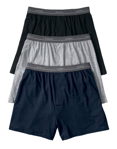 Hanes boys Exposed Elastic Knit Boxer(B539P5)-Assorted Solids-XL