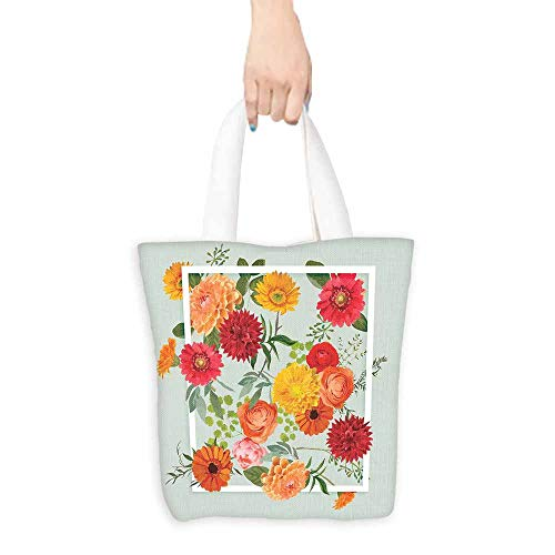 """Shabby Chic Tote Bag Floral Flowers Leaves Buds Frame Artwork Print Large Capacity 16.5""""x13.8""""x6.3"""" Pale Green Dark Coral Mustard Peach Red_1"""