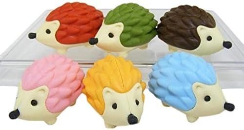 6 Piece Iwako Japanese Erasers Hedgehog
