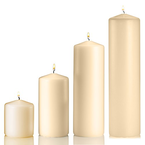 (Set of 4 Unscented Pillar Candles - 3x3 Inch, 3x6 Inch, 3x9 Inch, 3x12 Inch - Extra Long Burn Time - Ideal for Wedding, Restaurants, Spa, Hotels, Home Décor. (Vanilla))