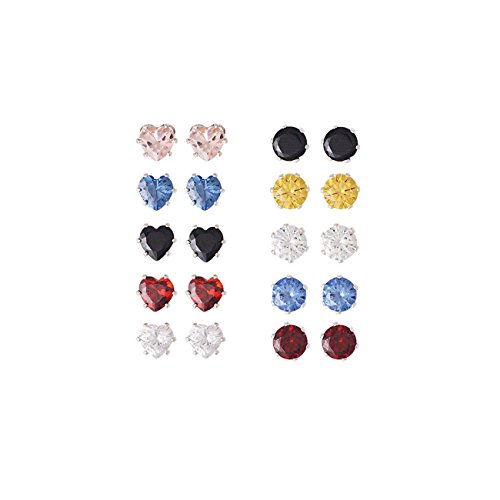 Round Pave Set Heart Earrings (10 Pairs Assorted Crystal Studs Earring Set for Women (round and heart))