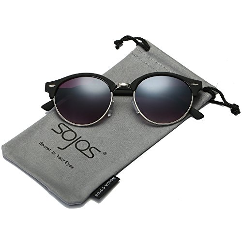 SojoS Classic Clubround Shades Semi-Rimless Unisex Sunglasses with Metal Rivets SJ2031 With Matte Black Frame/Gradient Grey - Coloured Hut Contact