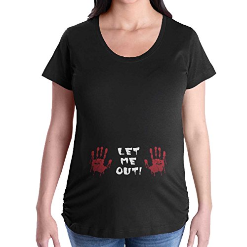 Brisco Brands Maternity Clothes Let Me Out Funny Cute Mom Scary Halloween Pregnancy T-Shirt for $<!--$14.99-->