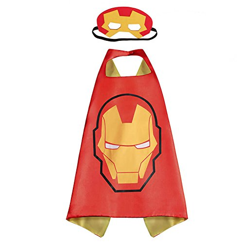 Pawbonds Halloween Costume Superhero Dress Up for Kids - Best Christmas, Birthday Gift, Cosplay Party. Satin Cape and Felt Mask Role Play Set. Cartoon Outfit for Boys and Girls (Ironman) ()