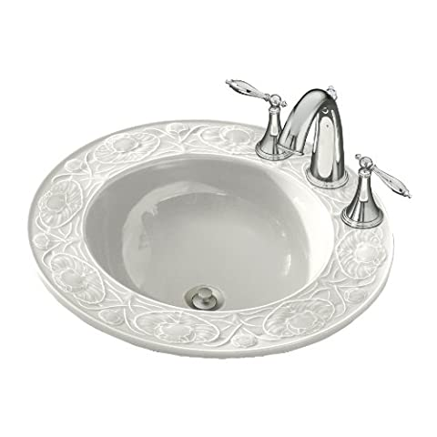 Kohler K-14282-12-0 Water Lilies Design on Camber Self-Rimming Lavatory with 12