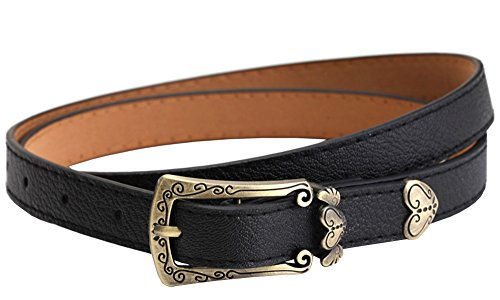 Heart Cool Belt Buckle (X&F Women's Heart-shaped PU Buckle Skinny Belt Girls Jeans Waist Belts)