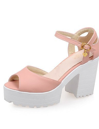 Blue Black Leatherette Sandals Pink Heel Shoes Toe Heels Chunky Women's Casual Pink Peep ShangYi 6FwvqPn