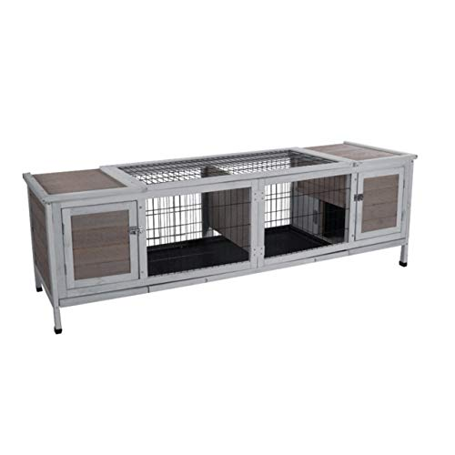 ROCKEVER Small Animals Cage Wood for Three-Four Rabbits, Guinea Pigs Cage Large Indoor with Pull Out Tray Grey