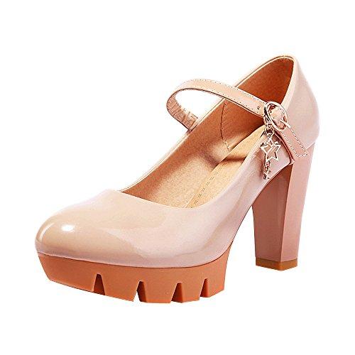 OCHENTA Yardas grandes de la boca baja de fondo grueso zapatos de charol para mujer Albaricoque