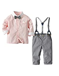 Happy Cherry Baby Boys Gentleman Bowtie Suits Formal Long Sleeve Overall Set