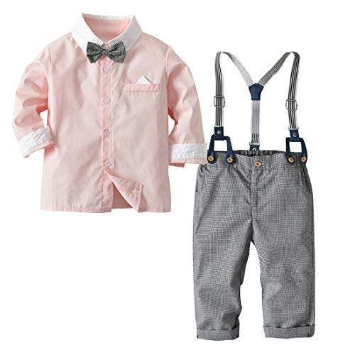 Little Boys Gentleman Set Suspender Bowtie Outfits Formal Button Clothes Soft Wedding Rompers Long Sleeve Cotton Overall with Pocket for Autumn Winter 18-24M 4PCS Pink