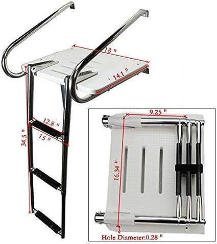 FidgetKute Escalera telescópica de Fibra de Vidrio para Barco, 2 ...